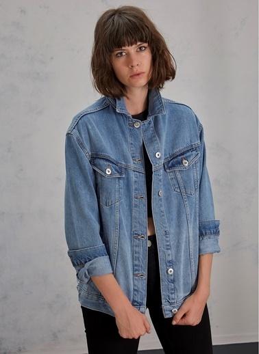 Pi π Oversize Jean Ceket Mavi